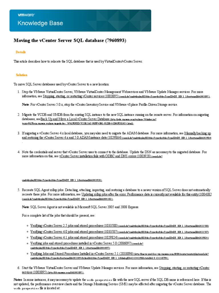 VMware KB_ Moving the vCenter Server SQL Database