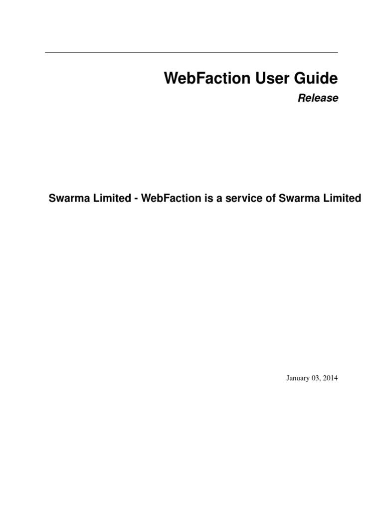 Web Faction User Guide File Transfer Protocol Secure Shell