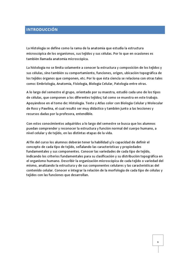 Resumen Histología Humana