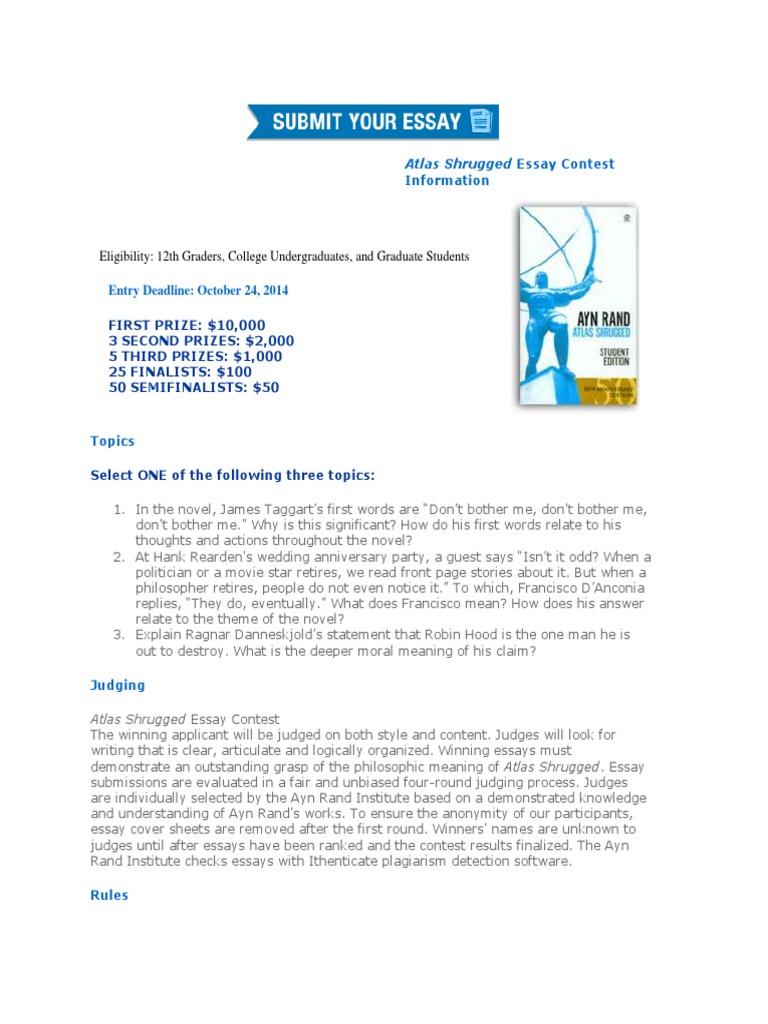 ayn rand atlas shrugged essay contest 2012 winners
