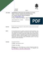 HIS 2046 - História e Cultura Urbana - Prof. Antonio Edmilson Martins Rodrigues - 2014.1