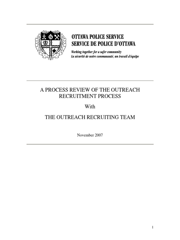 Ottawa Police Service Process Review | Recruitment | Constable
