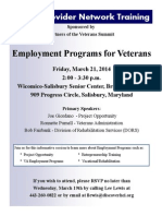 Vet Provider Network Training Flyer Employment March 2014