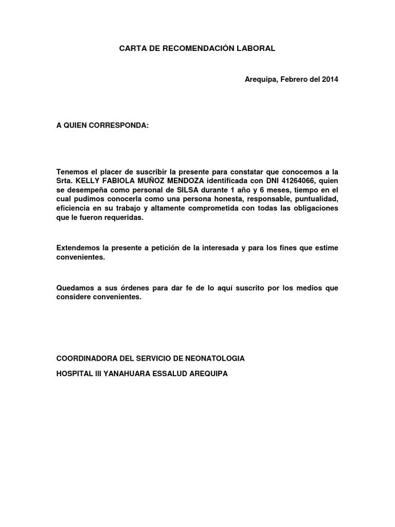 carta de recomendaci u00d3n laboral