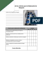 Lista de cotejo de los criterios para la Elaboración de Maqueta