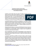 Comunicado de UNT sobre ruptura con Panamá