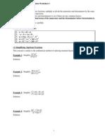 Algebraic Manipulation Worksheet 1