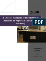 A Critical Analysis of Institutional Reforms in Nigeria's Oil and Gas Industry