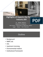 Highlights of Aspects of the Petroleum Industry Bill - A Presentation to the Nigerian Association of Energy Economics Conference 2009