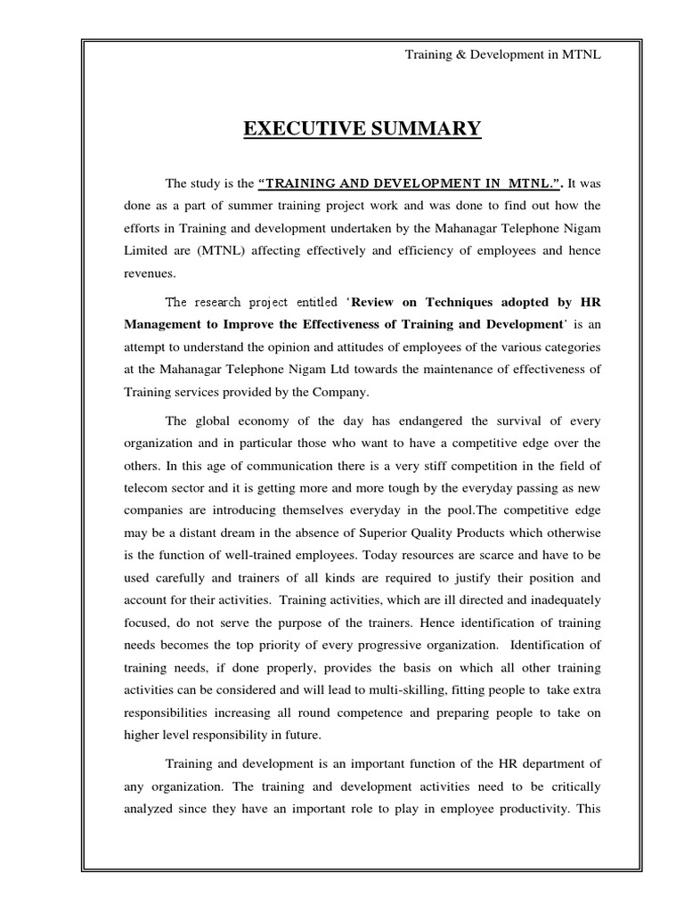 Training And Development In Mtnl Project Report Needs Assessment