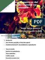 Evidencias empíricas del desarrollo regional en Colombia