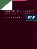 Heidegger-Qué significa pensar