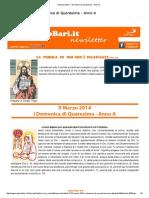 9 Marzo 2014 - I Domenica Di Quaresima - Anno A