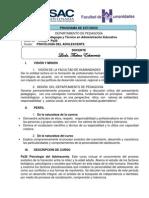 PROGRAMA  Ps26  PSICOLOGÍA DEL ADOLESCENTE