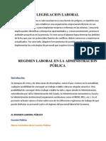 REGIMEN LABORAL EN LA ADMINISTRACIÓN PÚBLICA
