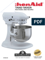 Kitchen Aid Mixer Bowl Lift style Use and Care Guide  with recipes 72 pages