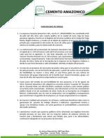 COMUNICADO DE CEMENTO AMAZÓNICO S.A.C.