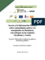 Acceso a la información pública entre comunidades pobres y/o marginadas en Honduras.