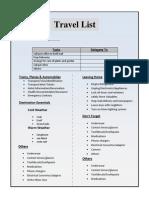Travel List Template