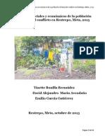 Aspectos sociales y económicos de la población víctima del conflicto en Restrepo