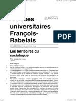 Abrioux, f. Les Territoires Du Sociologue