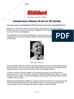 Standard - Kenyan-Born Obama All Set for US Senate 6-27-04
