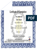 Tom's First-Aid Certificate