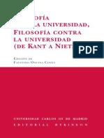 Filosofía para la universidad, filosofía contra la universidad.  De Kant a Nietzsche (edición de Faustino Oncina)