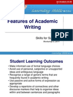 Workshop 3 Features Academic Writing