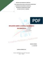 Reflexion Sobre El Modelo Economico en Venezuela