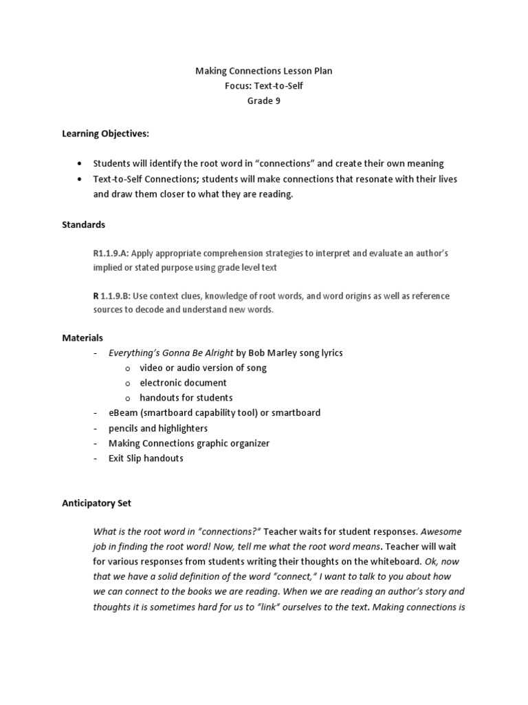 Making Connections Lesson Plan Weebly Project Reading