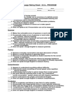 Oral Language Rating Sheet - E.S.L. PROGRAM