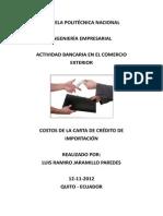 2. COSTO CARTAS DE CRÉDITO IMPORTACIÓN