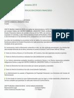 Certificacion de Estados Financieros