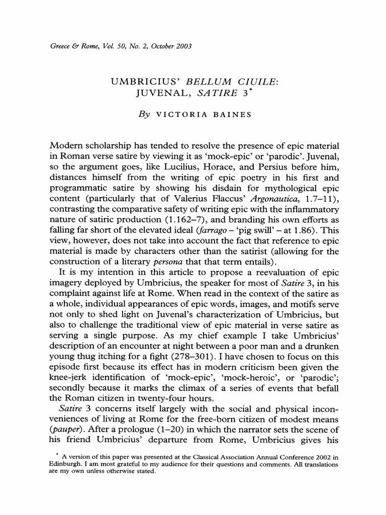 Baines 2003 Umbricius Bellum Ciuile Juvenal Satire 3 Aeneid