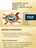 The Role of Philanthropy or the Social Responsibility