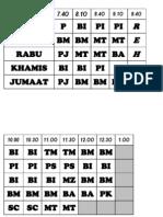 Jadual Waktu Kelas - Besar