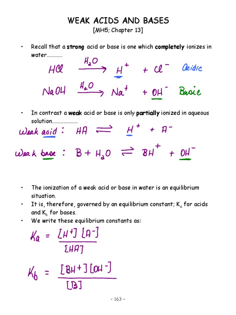 Weak Acid Base Notes | Acid Dissociation Constant | Buffer ...