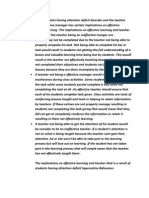 Implications of poor classroom management and ADHD on teaching