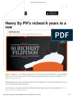 Henry Sy PH's Richest 6 Years in a Row