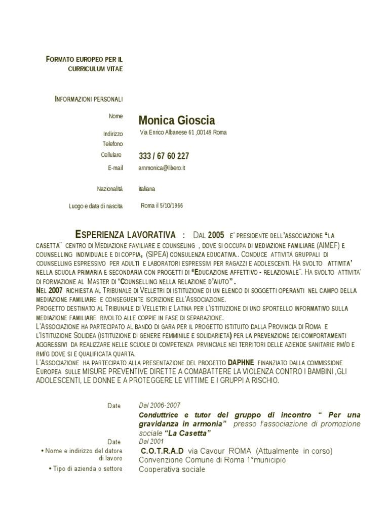 Curriculum Vitae Monica Gioscia Ufficiale 2