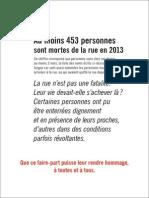La liste des Morts de La Rue 2013