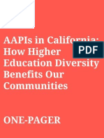 Asian Americans and Pacific Islanders in California:How Higher Education Diversity Benefits Our Communities (One pager)