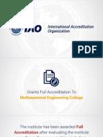 Muthayammal Engineering College gets full accreditation by International Accreditation Organization