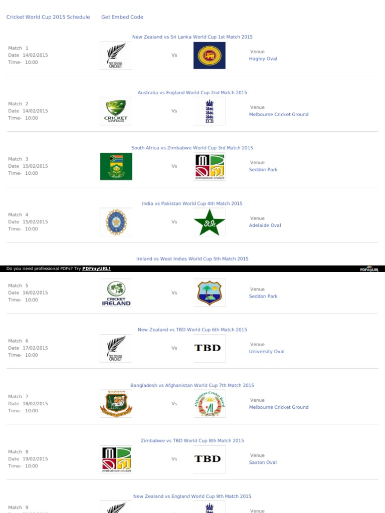 Icc World Cup 2015 Schedule In Pdf Indian Time