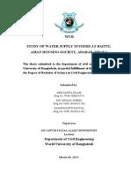 Study of Water Supply Systems at Baitul AMAN HOUSING SOCIETY, ADABAR, DHAKA