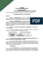 LEY 203 DELIMITACIÓN DEL MUNICIPIO DE SANTIAGO DE HUARI