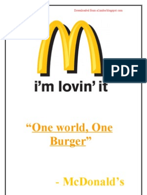 marketing plan for mcdonalds 1 executive summery/introduction this report is being completed for the marketing unit the purpose of this report is to produce a marketing audit of a company, which will consist of smart objectives and aims.