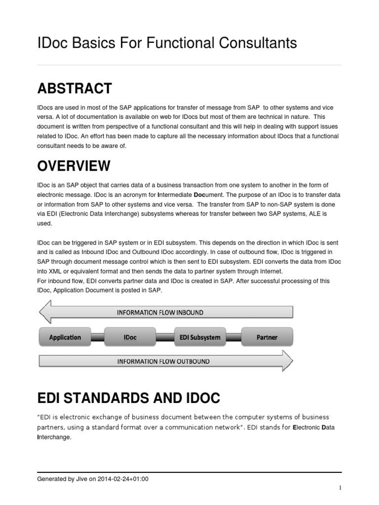 IDOCS Basics for Func SAP Consultnats | Electronic Data Interchange