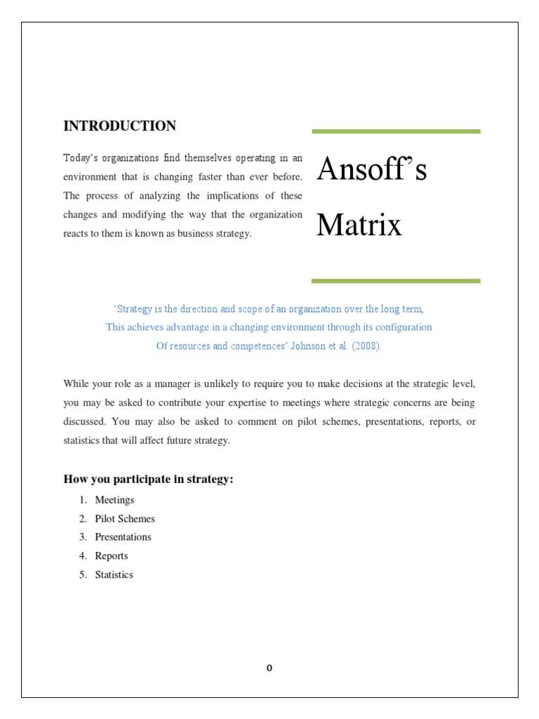 criticism of ansoff matrix